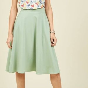 Green A-line Midi Skirt from Modcloth